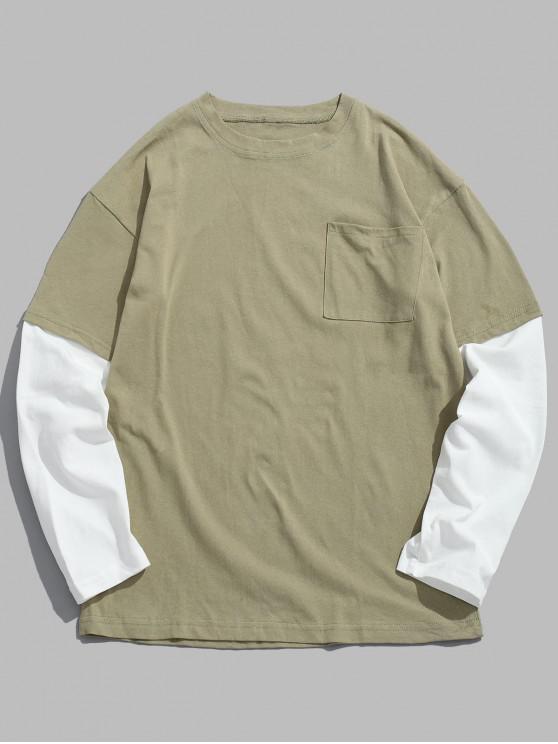 chic Drop Shoulder Two Tone T Shirt - GREEN XL