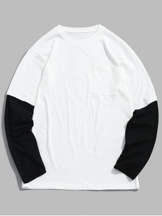 Tropfen Schulter T-Shirt mit zwei Tönen - Weiß 3XL