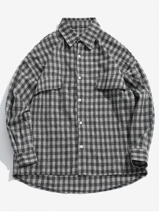 ladies Houndstooth Loose Fitting High Low Shirt - BLACK 2XL