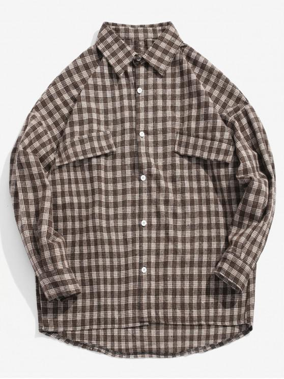 Houndstooth - locker sitzendes High Low-Shirt - Kaffee L