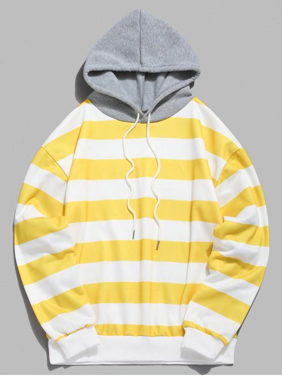shop Contrast Striped Print Fleece Hoodie - YELLOW M