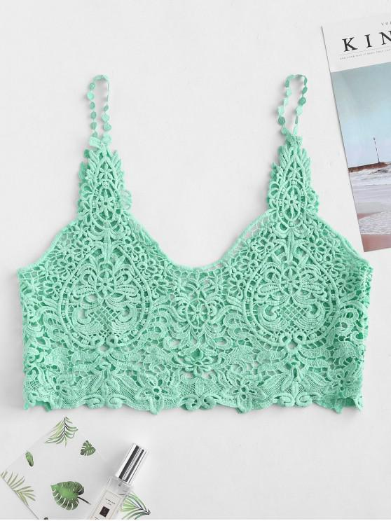 fashion Crocheted Tank Top - LIGHT AQUAMARINE ONE SIZE