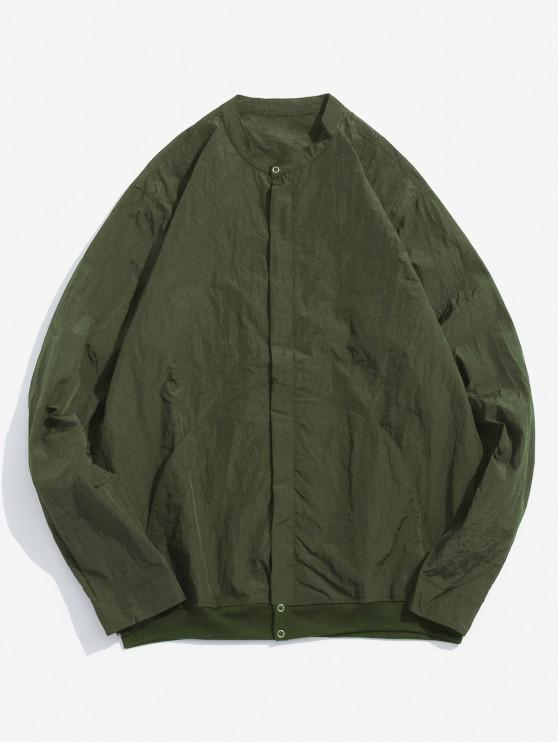 women's Front Pockets Zip Fly Jacket - ARMY GREEN 2XL