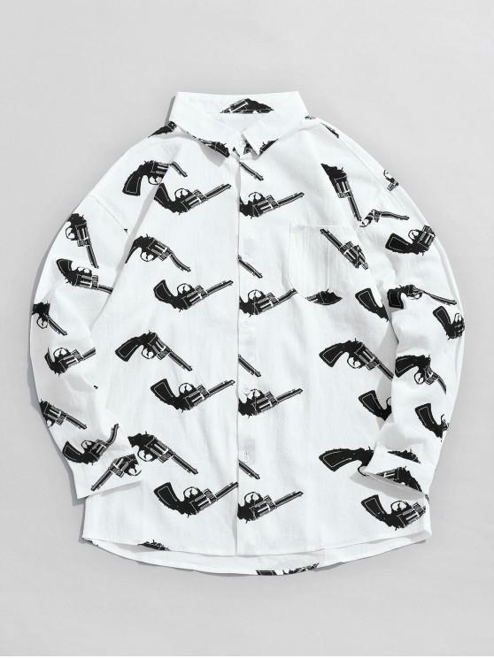 women's Long Sleeves Graphic Shirt with Pocket - WHITE M