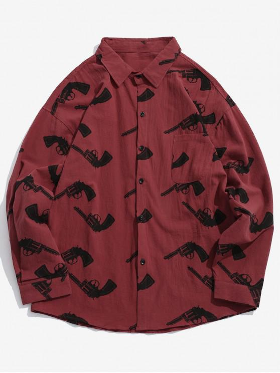 fashion Long Sleeves Graphic Shirt with Pocket - RED M