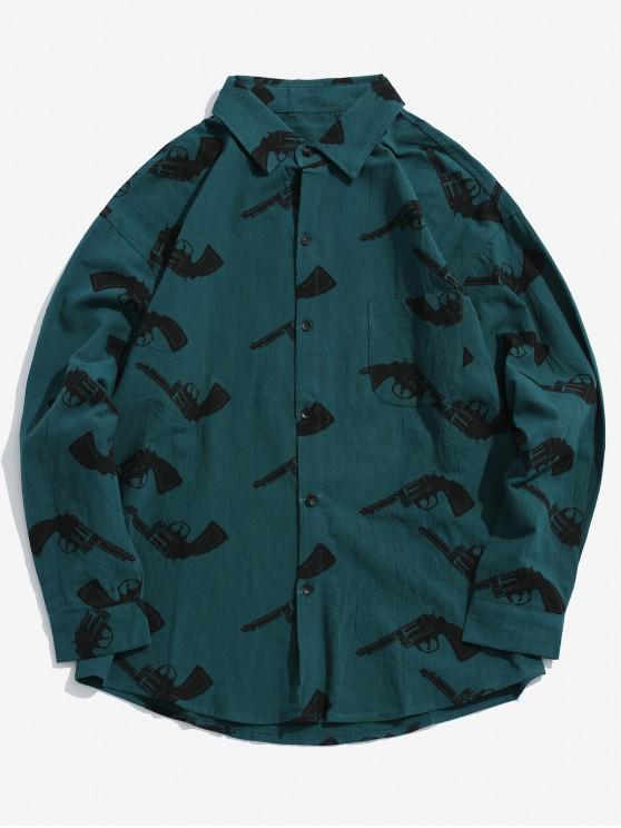 chic Long Sleeves Graphic Shirt with Pocket - PEACOCK BLUE M