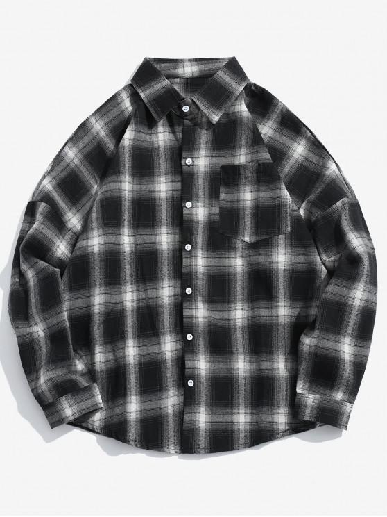 Camicia A Quadretti Con Tasca A Spalle Oblique - Nero XL