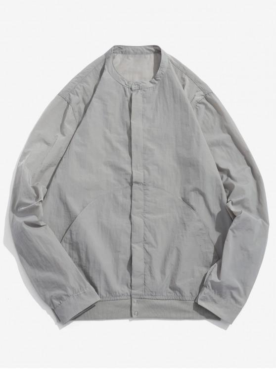 fancy Front Pockets Zip Fly Jacket - GRAY GOOSE M