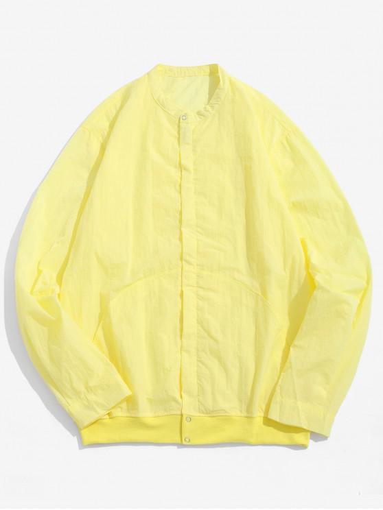 lady Front Pockets Zip Fly Jacket - CORNSILK M