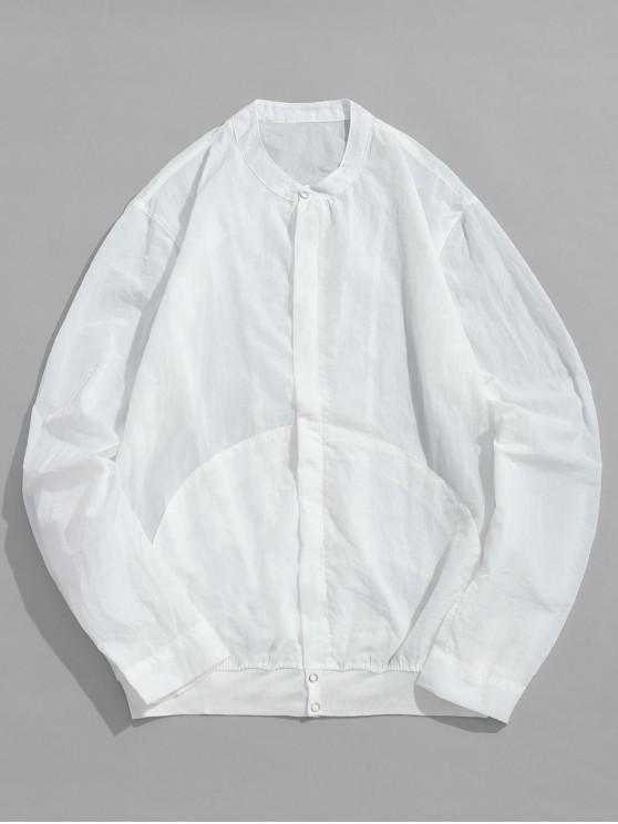 ladies Front Pockets Zip Fly Jacket - WHITE M