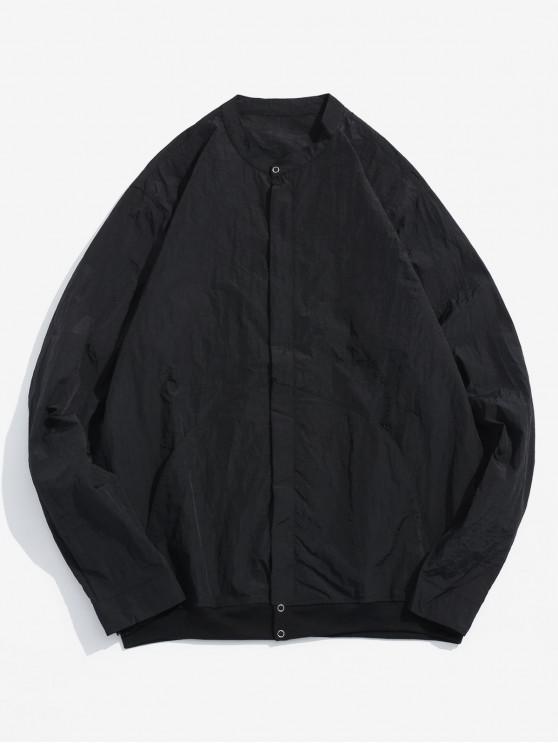 women Front Pockets Zip Fly Jacket - BLACK M