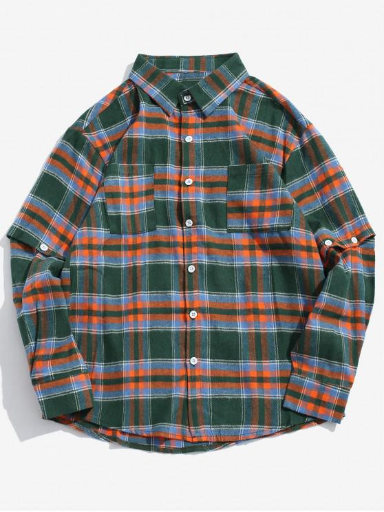 sale Detachable Sleeves Plaid Shirt with Pockets - GREEN L