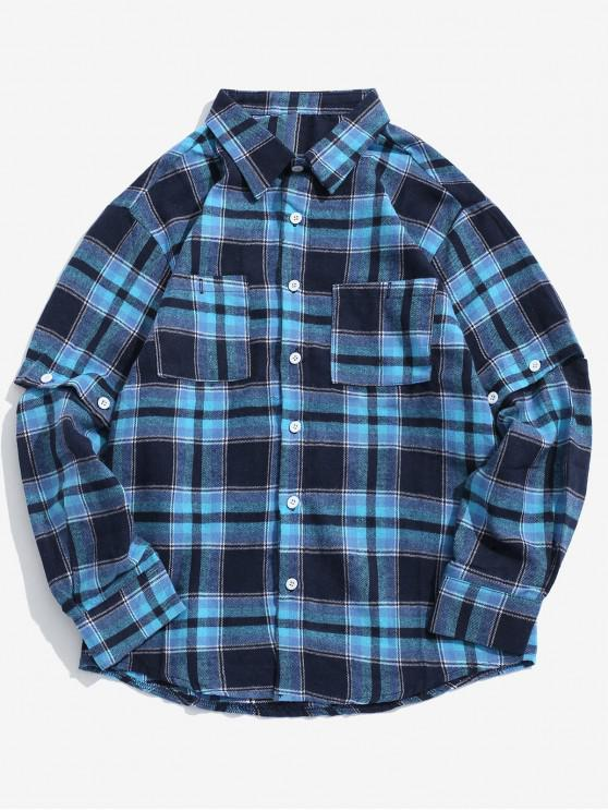 new Detachable Sleeves Plaid Shirt with Pockets - BLUE XL