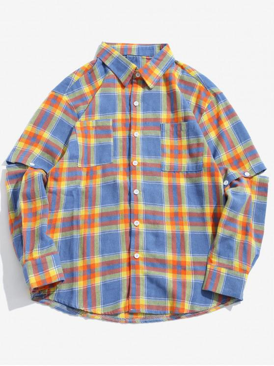 unique Detachable Sleeves Plaid Shirt with Pockets - YELLOW L