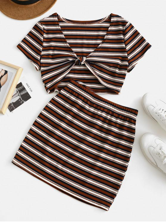 outfit ZAFUL Stripes Tie Front Ribbed Top Set - DARK GOLDENROD S