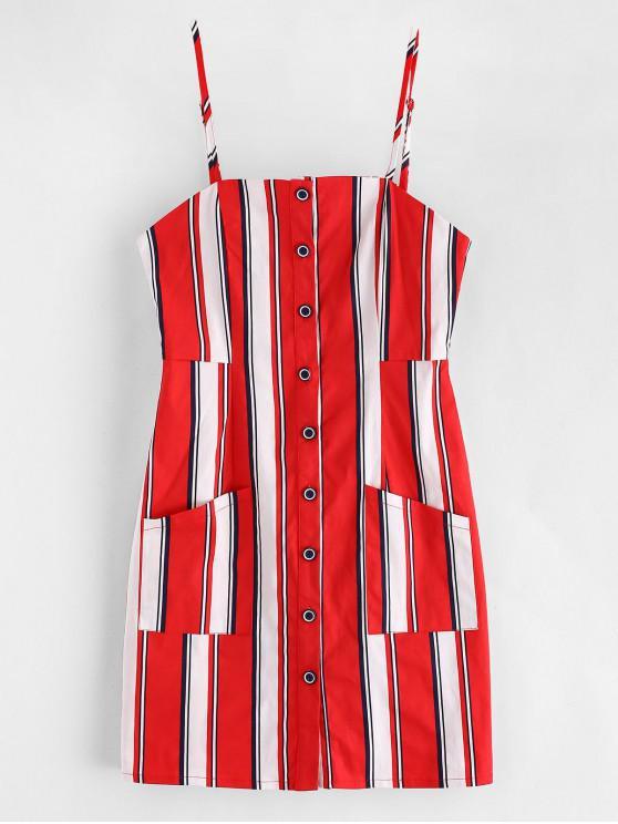 Mini Vestito A Righe Con Bottoni E Tasche Di ZAFUL - Rosso Lava  L