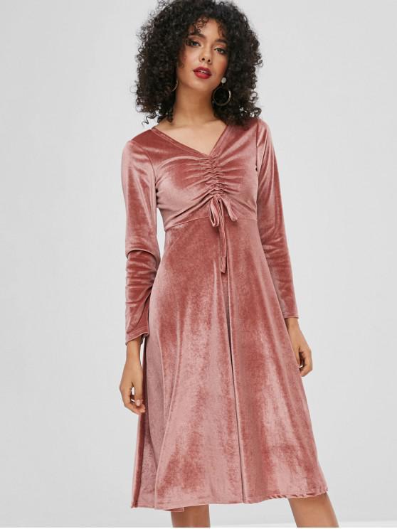 best Cinched Velvet Dress - KHAKI ROSE ONE SIZE