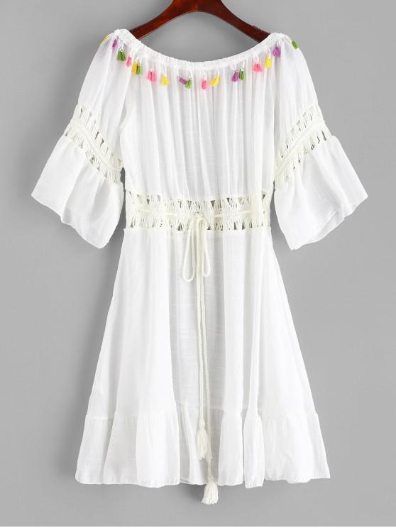 Robe Asymétrique Pannneau au Crochet à Epaule Dénudée à Franges - Blanc Taille Unique