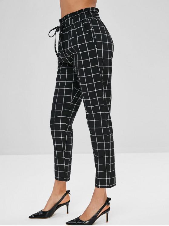 Pantalones a cuadros rectos con cordón - Negro S