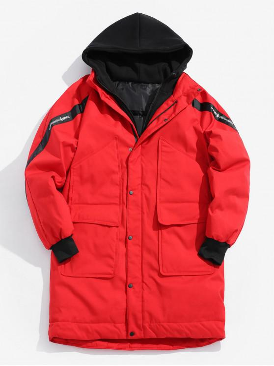 latest Hooded Letter Longline Coat - RED L