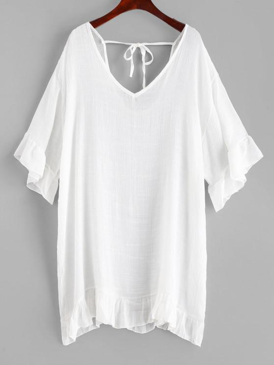 Vestido de Saída de Praia com Babado - Branco Um Tamanho