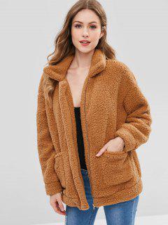 Zip Up Fluffy Faux Fur Winter Coat - Brown Xl