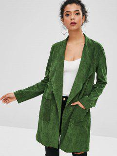 ZAFUL Faux Suede Open Pocket Coat - Dark Green S