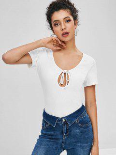 ZAFUL - Ausschnitt Aus Geknotetem, Schlichten T-Shirt - Weiß L