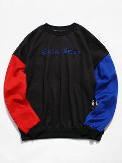 Sleeve Colorblock Embroidery Fleece Sweatshirt - Black L
