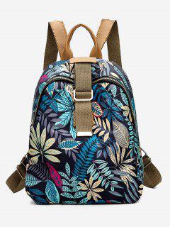 Leaves Print Waterproof Canvas Backpack - Blue