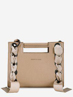 Ribbon Lace Decorative Tote Bag - Light Khaki
