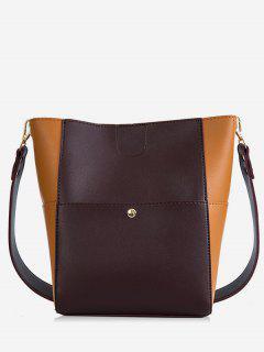 2 Piece Contrast Color Handbag Set - Purple