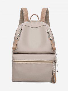 Canvas Front Zip Pocket Backpack - Beige
