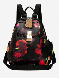 Multi Functional Printed Canvas Backpack - Black