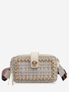 Chain Decorative Plaid Corssbody Bag - White