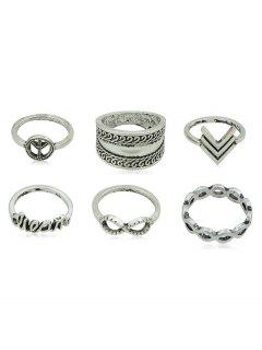 Hollowed Bohemia Style Infinity Letter Pattern Ring Set - Silver
