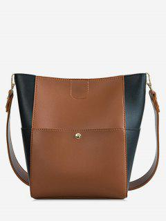 2 Piece Contrast Color Handbag Set - Brown