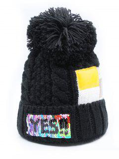 Fuzzy Ball Decoration Flanging Knitted Beanie - Black