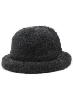 Winter Fuzzy Simple Style Bucket Hat - Black