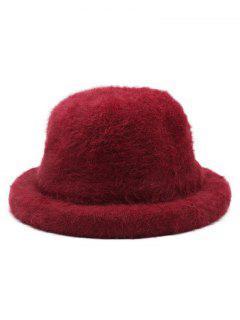 Winter Fuzzy Simple Style Bucket Hat - Red Wine