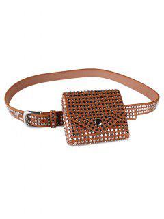 Rivet Embellished Fanny Pack Belt - Light Brown