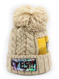 Fuzzy Ball Decoration Flanging Knitted Beanie - Beige