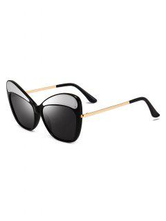 Metal PC Butterfly Shape Frame Sunglasses - Black