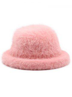 Winter Fuzzy Simple Style Bucket Hat - Pink