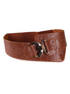 Stylish Snakeskin Design Wide Waist Belt - Chestnut