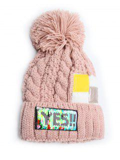 Fuzzy Ball Decoration Flanging Knitted Beanie - Pink