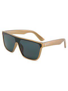 Business Rectangle PC Frame Sunglasses - Gold