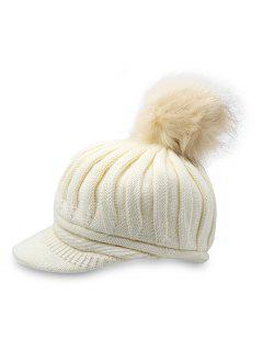 Fuzzy Ball Design Winter Woven Hat - White