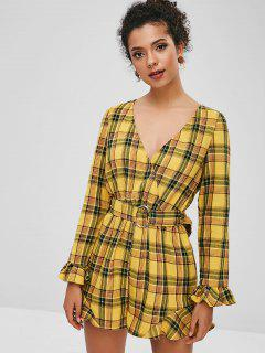 ZAFUL Ruffles Plaid Con Cinturón De Pierna Ancha Romper - Amarillo Xl