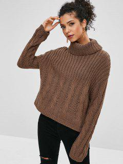 Ribbed Cable Knit Turtleneck Boxy Sweater - Coffee